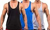 YAKER Men's Blank Stringer Y Back Bodybuilding Gym Tank Tops (S, Black/Blue/Grey-3Pcs)