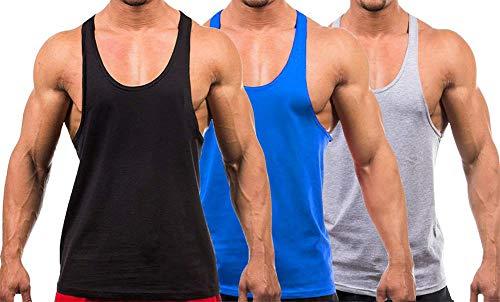 YAKER Men's Blank Stringer Y Back Bodybuilding Gym Tank Tops (M, Black/Blue/Grey-3Pcs)
