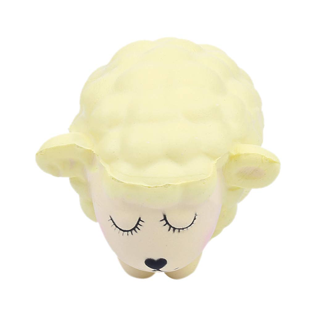 Stress Reliever Cute Lamb Scented Super Slow Rising Kids Squeezable Toy,Squishies Toys (Yellow)