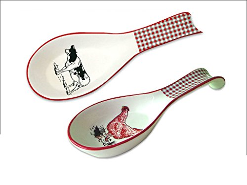 (White Porcelaine Spoon Rest - Set/2 Assorted Styles - Cow and Chicken)