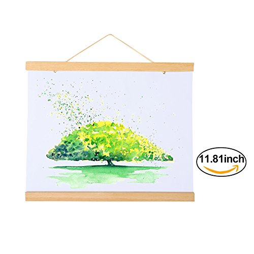 Magnetic Wooden Photo Frame Natural Wood Frame Picture Poster Artwork Canvas Hanger For Home Decoration Wall White Wood White Wood (Size:30cm/11.81inch) (Shape Magnetic Picture Frame)