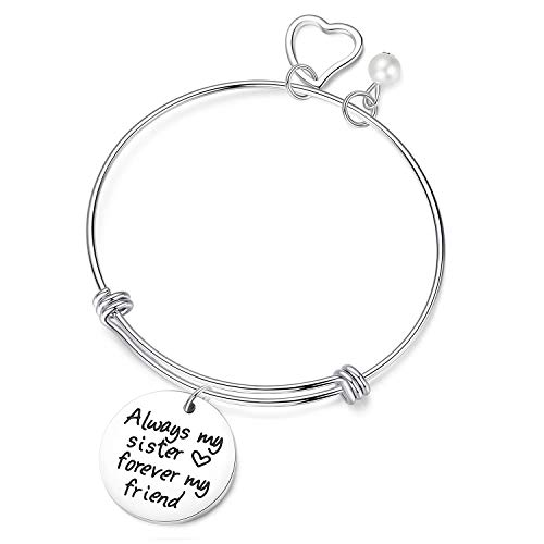 JSstudio Sister Gifts from Sister - Always My Sister, Forever My Friend - Sisters Charm Stailess Steel Adjustable Bangle Bracelet Jewelry - Personalized Birthday Gifts Sister Women Teen Girls