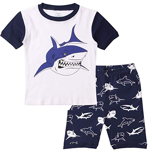 Hsctek Boys Pjs, Short Sleeve Pajamas for Kids, Summer Cotton Kids Pajamas(White Shark, 6)