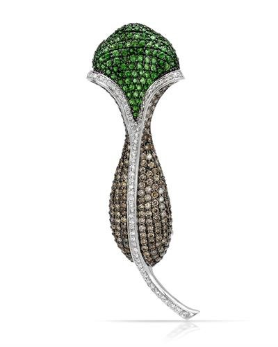 14K White Gold Tsavorite & Round Diamond Brooch