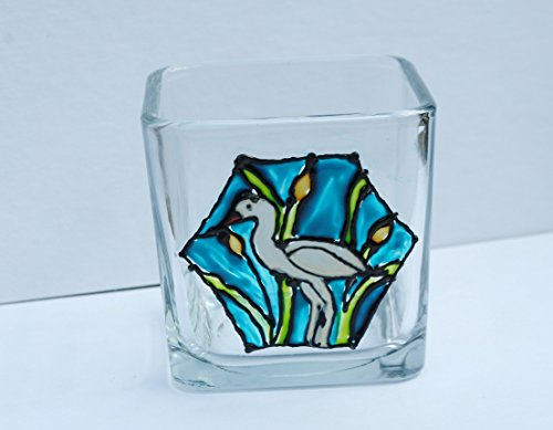 Cattail Candle - White Egret Bird Stained Glass Hand Painted Square Candle Holder, Heron Home Decoration