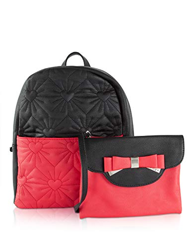 Betsey Johnson Women's Backpack with Crossbody Black/Red One Size Betsey Johnson Girls Bag