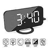 "Foreita Alarm Clock,Digital Clock with Dual USB Charging Ports,6.5"" Large LED Display,Adjustable Brightness, Big Snooze, Mirror Surface for Bedroom Living Room Decor(White)"