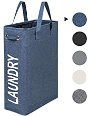 ZERO JET LAG 45L Slim Laundry Hamper with Handles Thin Laundry Bin Collapsable Dirty Clothes Basket Narrow Laundry Bag Foldable Dirty Hamper