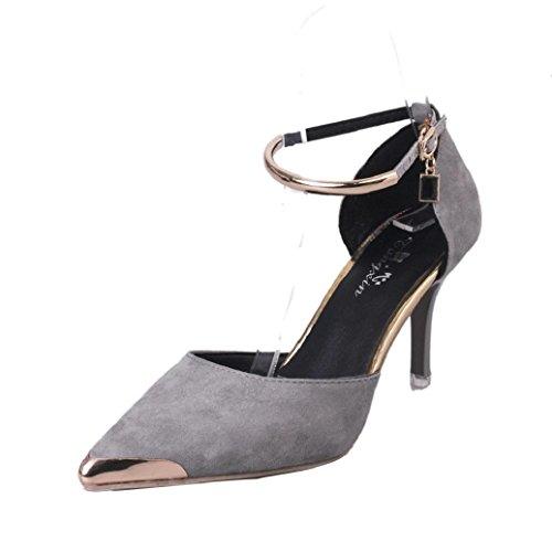 Elevin (tm) Donna Estate Allaperto Scarpe A Punta Con Fibbia Tacchi Alti Scarpe Da Sposa Sandalo Grigio
