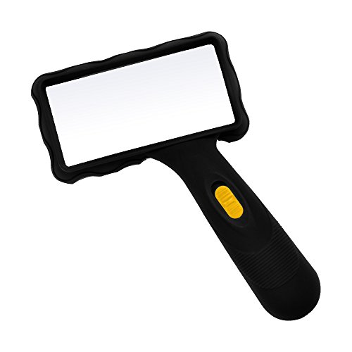 (Kadaon Rectangular Handheld Reading Magnifying Glass with 2 LED Lights and 2X Magnification for Reading Book, Inspection, Coins, Insects, Rocks, Map, Crossword Puzzle)