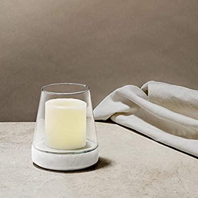 LampLust Marble and Glass Hurricane Candle Holder