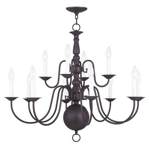 Livex Lighting 5014-07 Williamsburg 12-Light Chandelier, Bronze