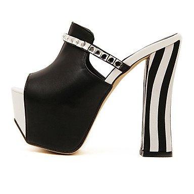 LvYuan zapatos de las sandalias del verano del vestido del club de la PU del talón grueso diamante artificial Black