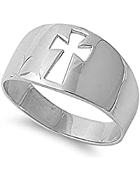 Wide Cutout Cross Christian Purity Ring New .925 Sterling Silver Band Sizes 5-10