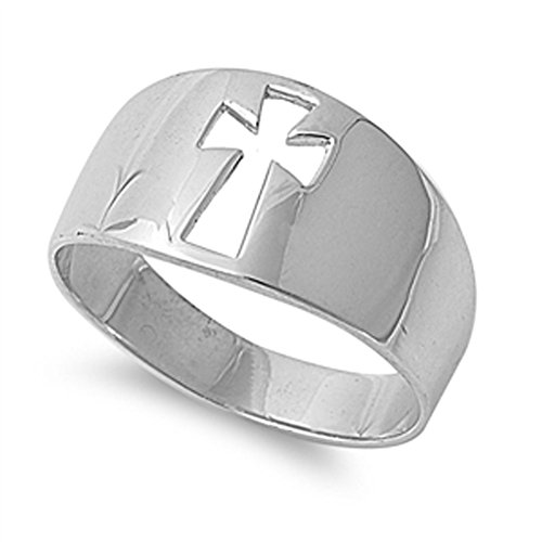 Wide Cutout Cross Christian Purity Ring New .925 Sterling Silver Band Size 9 (Silver Cross Sterling Ring)