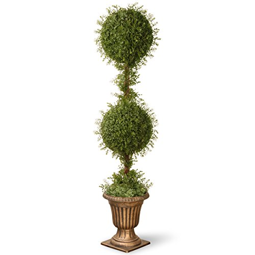 National Tree 60 Inch Mini Tea Leaf Two Ball Topiary in Decorative Urn (LTLM4-702-60) by National Tree Company