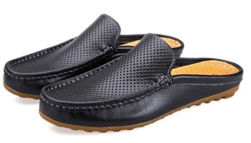 WLFHM Scarpe da Uomo Estate Uomo Traspirante Scarpe con Piselli Scarpe Pigre Black