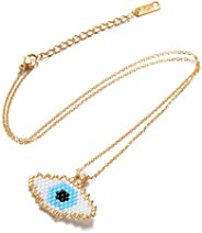 chefensty Handmade Seed Beaded Evil Eye Protection Pendant Necklace Women Fashion Jewelry