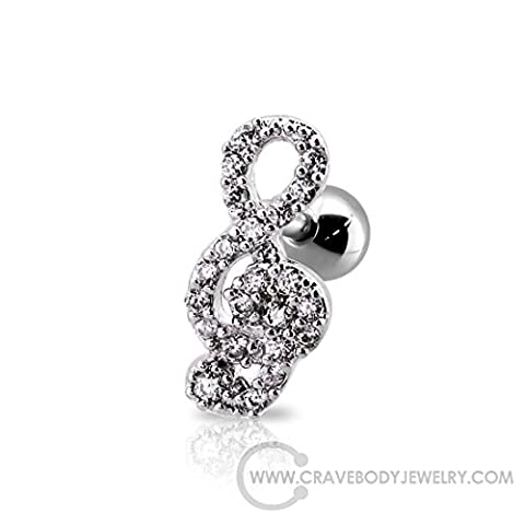 Music Note 12xx6mm CZ Ear Cuff Cartilage Helix Tragus Earring Barbell 16G - 1pc (Silver) (Music Note Cartilage)