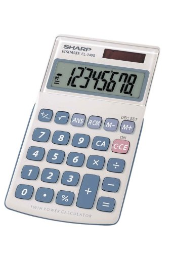 Sharp HO EL240SB 8 Digit Solar and Battery Powered Slant Display Calculator ()