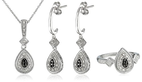 Sterling Silver Black and White Diamond Earrings, Pendant Necklace and Ring Box Set (1/4 cttw) by Amazon Collection