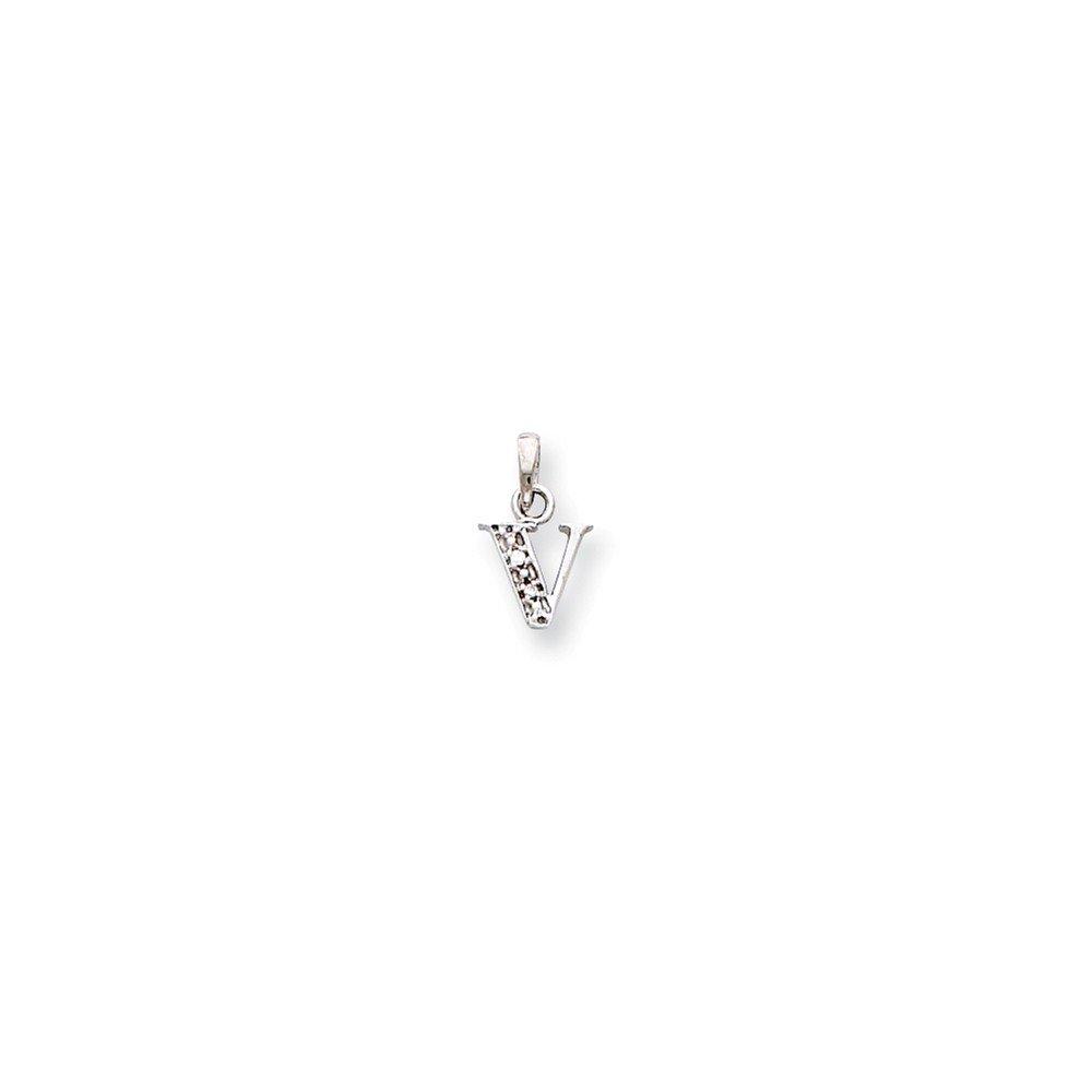 14K en Or Blanc Poli Forte CT Diamant Initiale V Pendentif Charm