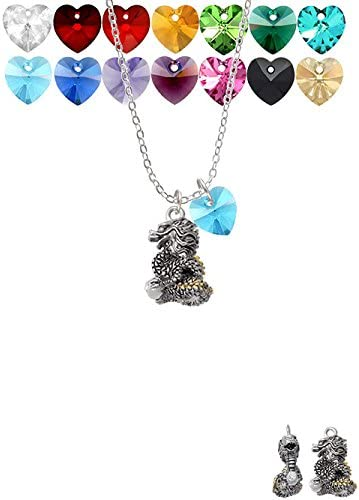 18+1 Delight Jewelry Dragon with Goldtone Scales and Crystals Custom Crystal Heart Sophia Necklace