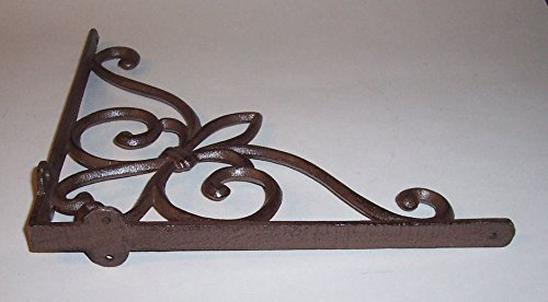 ''ABC Products'' - Heavy Cast Iron - All-Purpose Shelf Bracket - With Victorian Scroll Design - Hanger - Indoor or Outdoor Use - (Rustic Bronze Primitive Finish - Wall Hang By Four Screw)