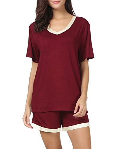 Invug Women Short Sleeve T Shirt and Shorts Pajamas Sleepwear Set Loungewear