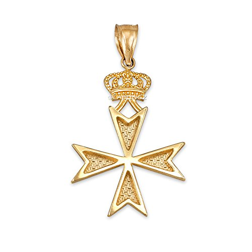 14K Yellow Gold Maltese Cross Crown Charm