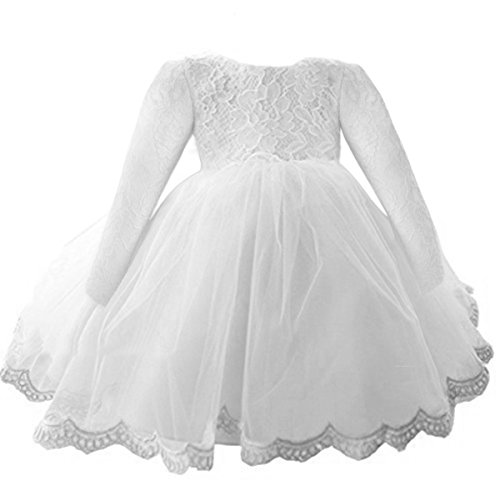 NNJXD Girls' Tulle Flower Princess Wedding Long Sleeve Dress For Toddler and Baby Girl Size 18-24 Months Pure White