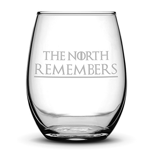 Premium Game of Thrones Wine Glass, The North Remembers, Hand Etched 14.2 oz Stemless Gifts, Made in USA, Sand Carved by Integrity - Glasses North