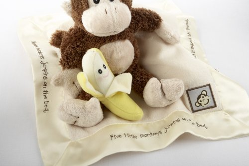 Baby Aspen Gift Set with Keepsake Basket Five Little Monkeys, Brown