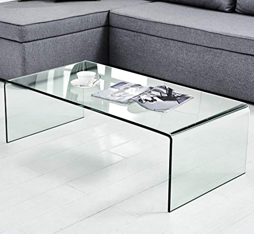 Black Friday Sales 2018 Coffee Table Thick Tempered Glass Living Room Table Accent Furniture with 15 Year Warranty Bent Table(Clear) Review