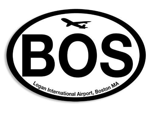 Oval BOS Sticker (boston airport code - Usa Airport Boston