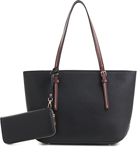 DELUXITY Amber Zippered Tote Shoulder Bag with Matching Clutch Wallet - 2 Item Set (Black)
