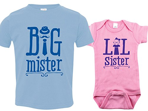 Matching Sibling Shirt Set, Big Mister Little Sister, Includes Size 2 & 0-3 mo