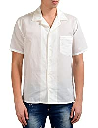 White Men's Shot Sleeve Button Front Casual Shirt US S IT 48