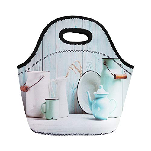 Semtomn Lunch Bags Country White Rustic Enamelware Table Over Blue Wooden Wall Neoprene Lunch Bag Lunchbox Tote Bag Portable Picnic Bag Cooler Bag