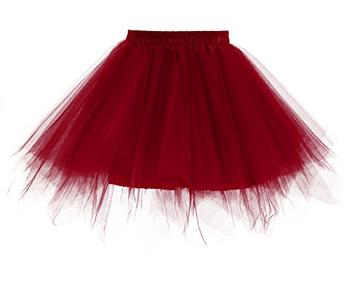 Yinyyinhs Baby Girls' Classic Dance Tulle Tutu Skirt for Dress Up & Fairy Costume Size S Burgundy (0-2 Years)