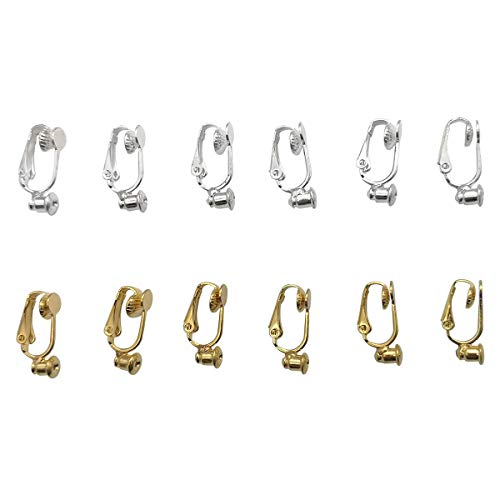 - ZPsolution 12 Pieces Clip on Earrings Converter Components with Post for Non-Pierced Ears, Silver and Gold