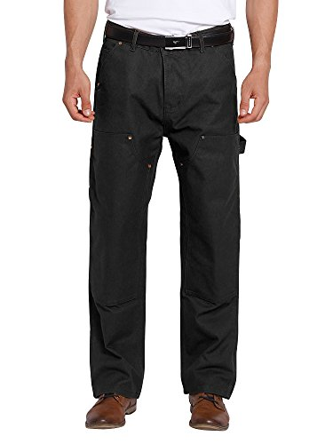 Men's Double Front Dungaree Canvas Work Pant Black (Knee Pocket Canvas Pant)
