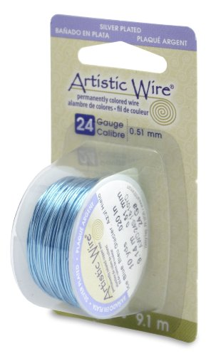 Artistic Wire 24-Gauge Silver Plated Ice Blue Wire, 10-Yards