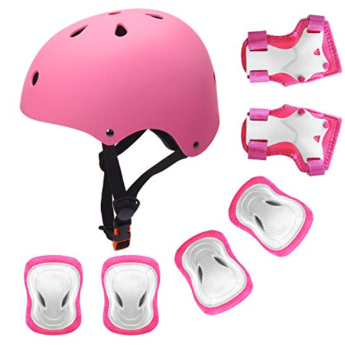 YUFU Kids Helmet Sports Protective Gear Set for 9-13 Years Children Boys Girls Bike Skateboard Adjustable Helmet Knee Elbow Wrist Pads for Cycling Skating Roller Scooter Bicycle, Pack of 7 Pink M