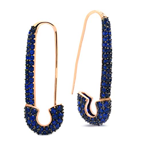 Safety Pin Earrings Rose Gold Plated Blue CZ Women Fashion, 1.5 in ()