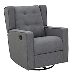 Living Room HOMCOM Wingback Recliner Chair Manual Rocking Sofa 360° Swivel Glider with Button Tufted, Padded Seat, Single Home…