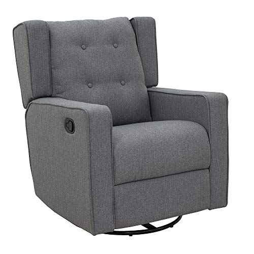 HOMCOM Linen Fabric Swivel Gliding Recliner Sofa Chair - Grey
