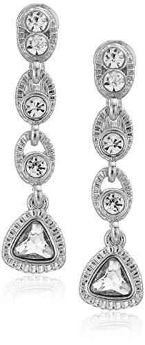 Napier Women's Silver-Tone And Crystal Linear Drop Clip On Earrings