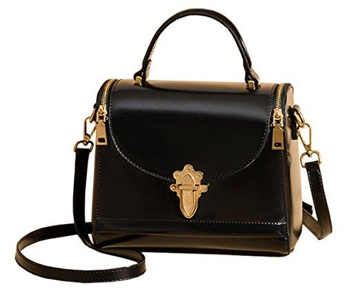 Bags Green Black Womens SAIERLONG Dark Leather Shoulder Handbags qIx71wY