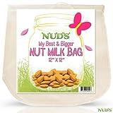 "Large Nut Milk Bag - 12x12 Inches Reusable Strainer - 12""x12"" Almond Milk Hemp Bags Made From Food Grade Fine Nylon Mesh Strainer - White"